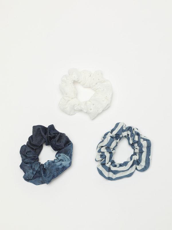 3-pack of denim scrunchies