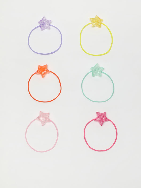 Pack of 6 hair ties with stars