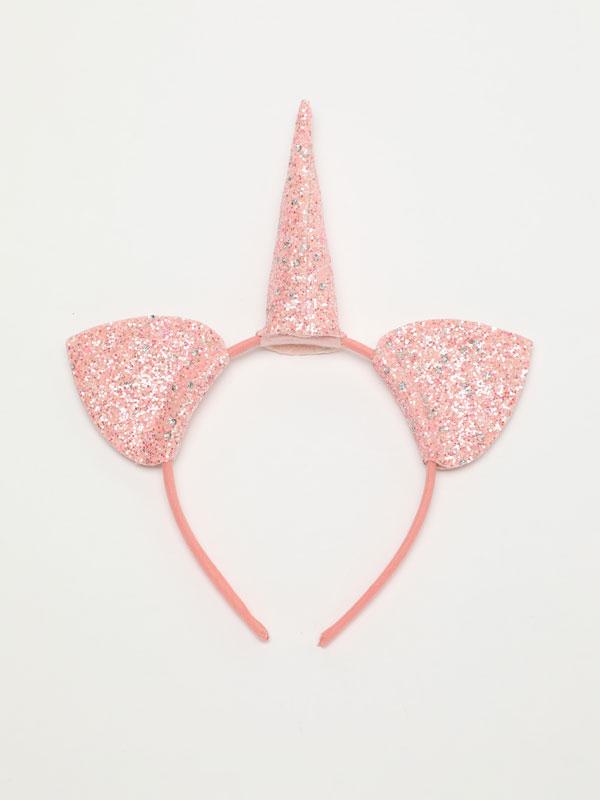 Shiny unicorn headband with cat ears