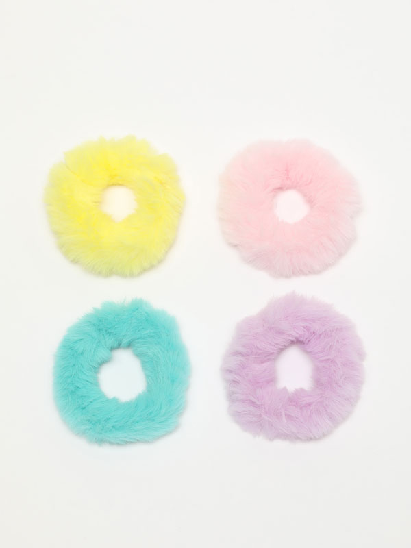 4-pack of fuzzy scrunchies