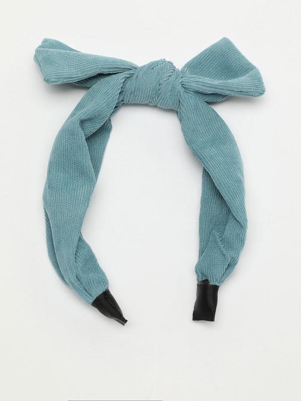 Corduroy headband with bow