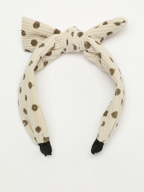Corduroy headband with bow and polka dots