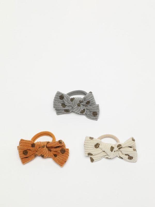 Pack of 3 corduroy hair ties with polka dots