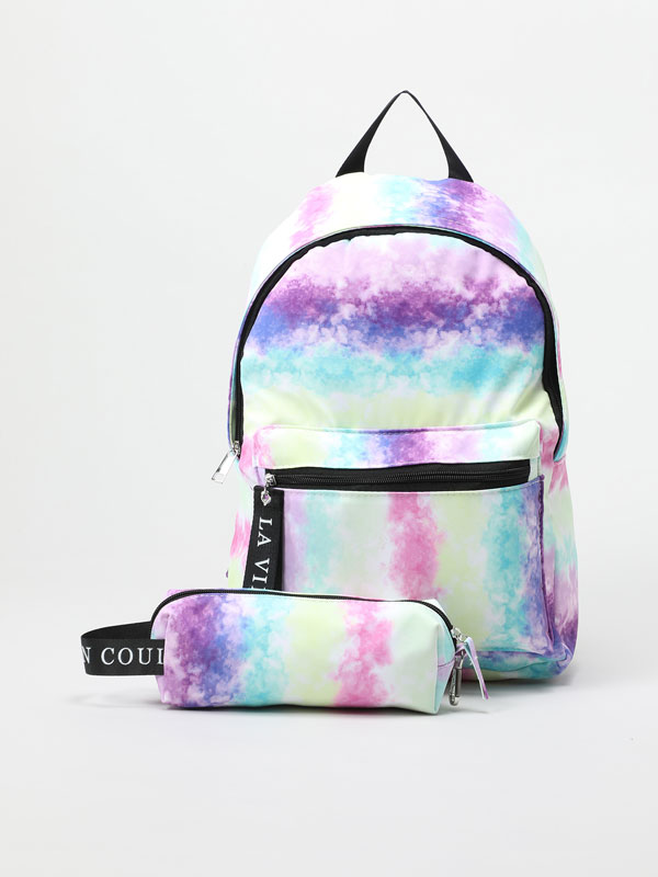 Tie-dye backpack and pencil case set