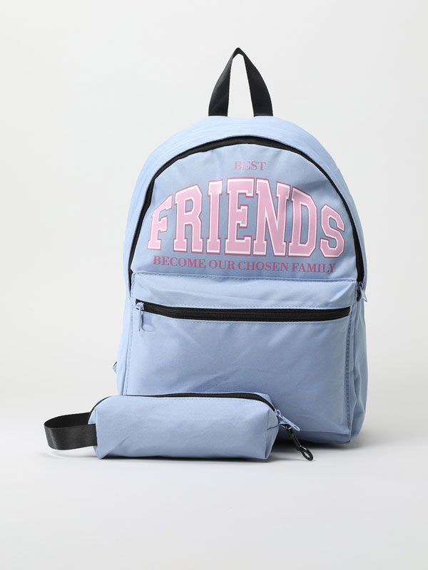 Slogan backpack and pencil case set