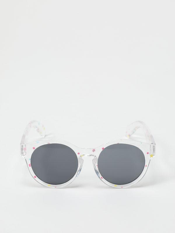 Transparent sunglasses with stars