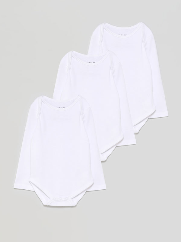 Pack of 3 basic long sleeve bodysuits