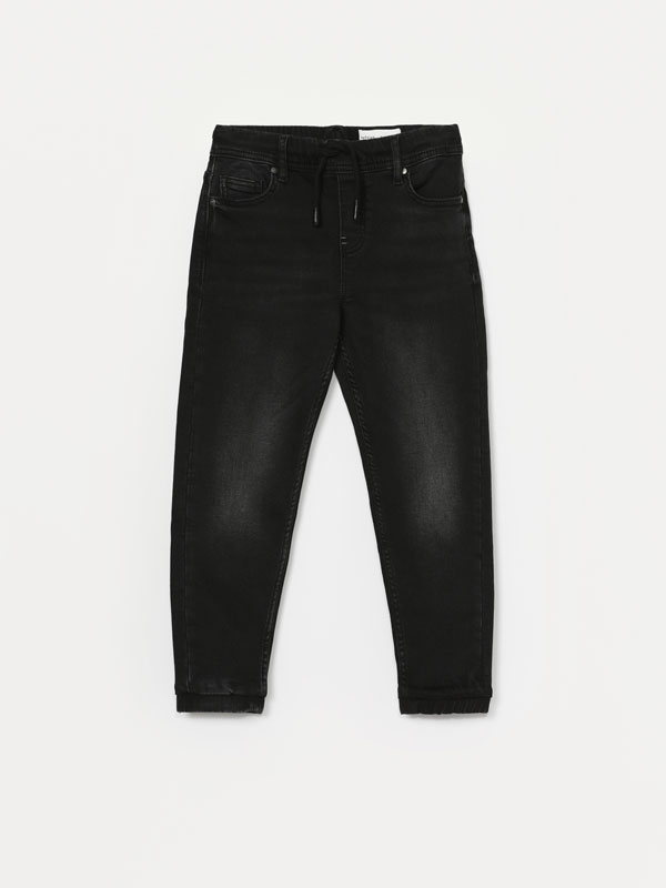 Comfort jogger jeans with elastic trim