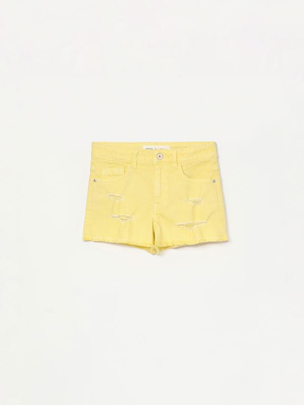 Coloured denim shorts