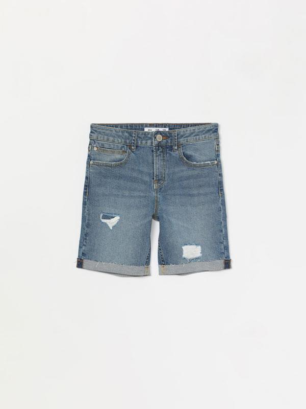 Frayed stretch denim Bermuda shorts