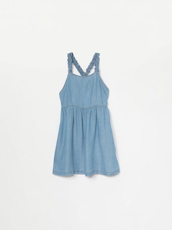 Denim dress with criss-cross back