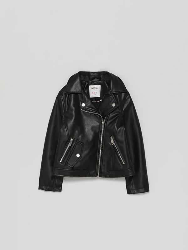 Faux leather crossover jacket