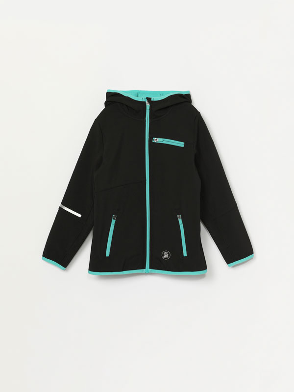 Technical fabric sports jacket with a hood