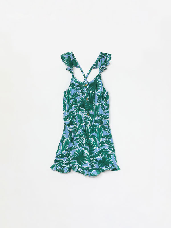 Short strappy printed jumpsuit