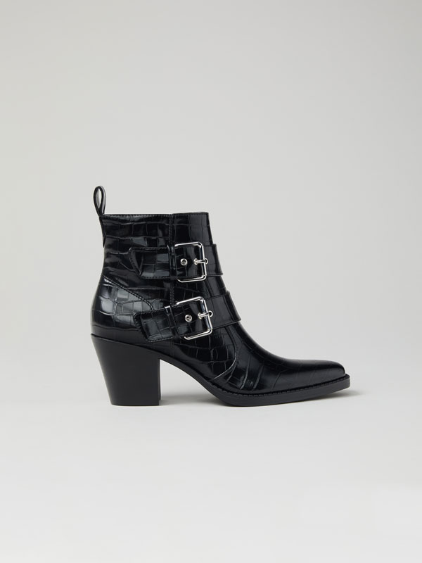 High-heel ankle boots with mock croc texture