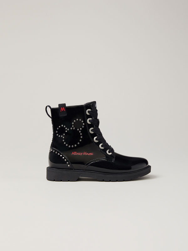 Studded faux-patent-finish Mickey © DISNEY boots