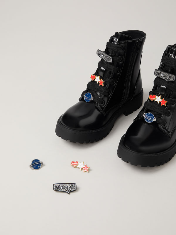Biker boots with lace detail