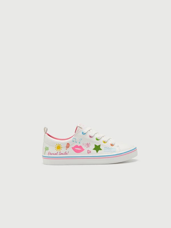 Glitter print sneakers