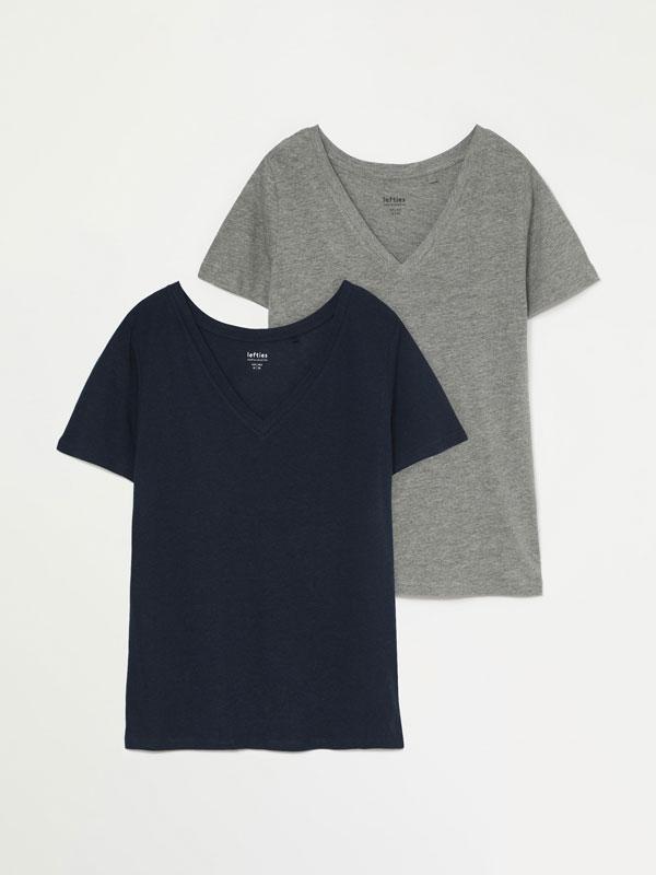 Paquet de 2 samarretes bàsiques amb escot en punta