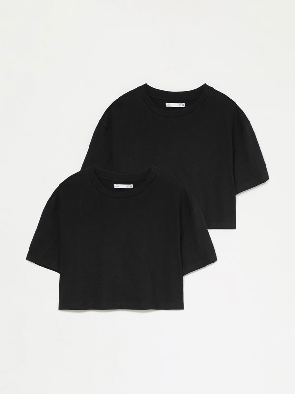 Pack de 2 t-shirts básicas cropped