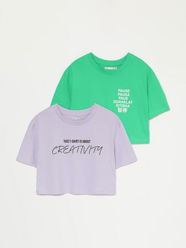 2-pack of printed cropped T-shirts