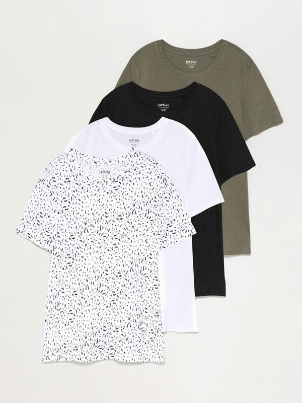 Pack de 4 camisetas de colo redondo combinadas