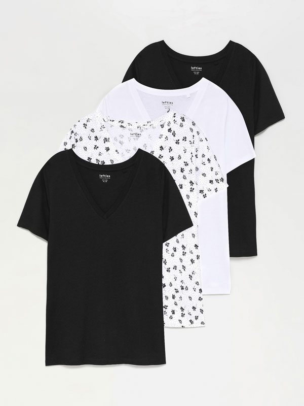 Pack of 4 contrasting V-neck T-shirts