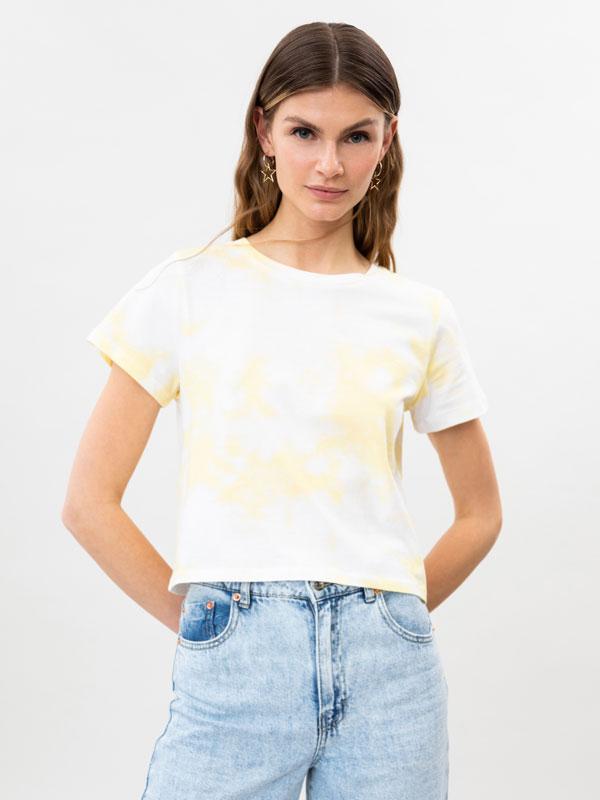 Tie-dye print cropped T-shirt