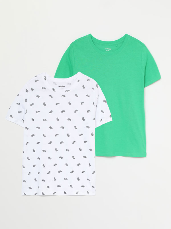 Pack of 2 round neck T-shirts (one plain, one printed)