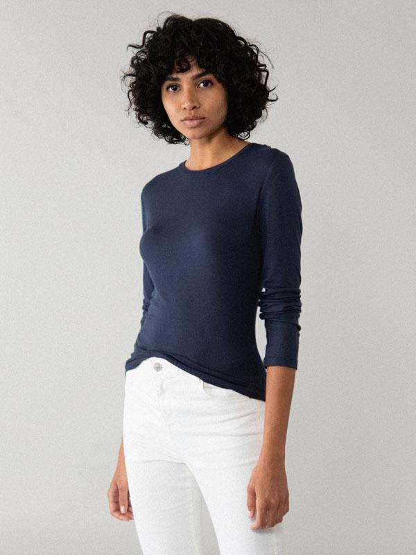 Camiseta básica de manga longa