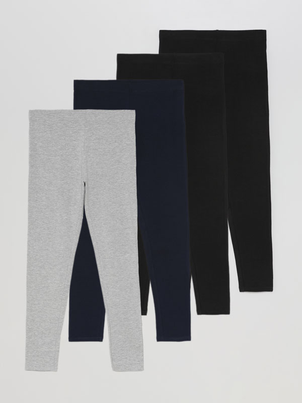 Pack de 4 leggings largos básicos