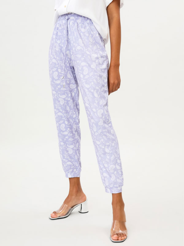 Printed flowing trousers