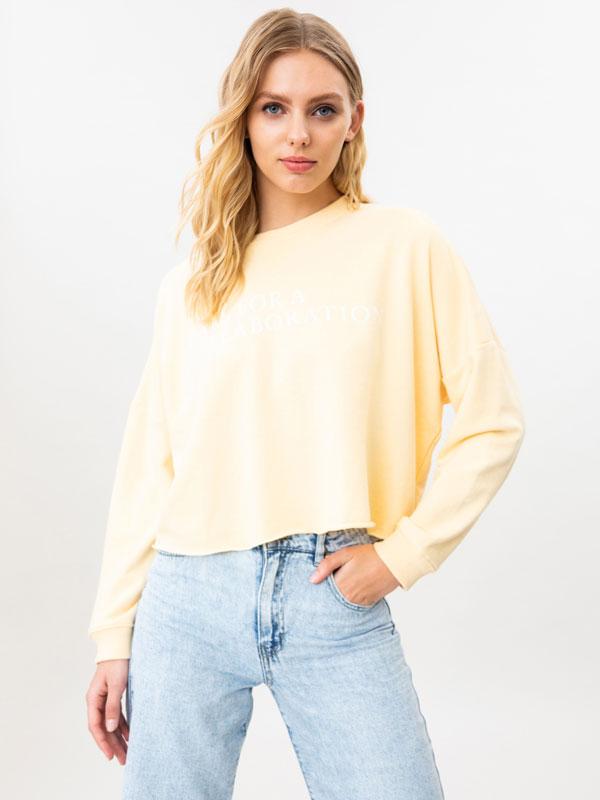 Oversize cropped sweatshirt with slogan