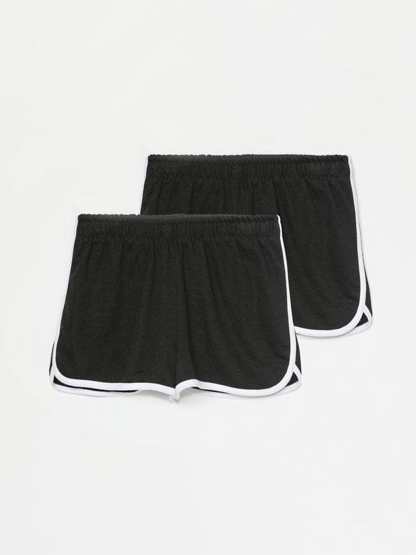Pack de 2 shorts básicos de felpa con ribete