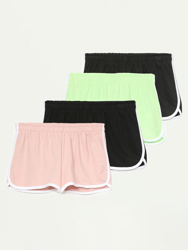 Pack of 4 pairs of basic plush shorts with piping