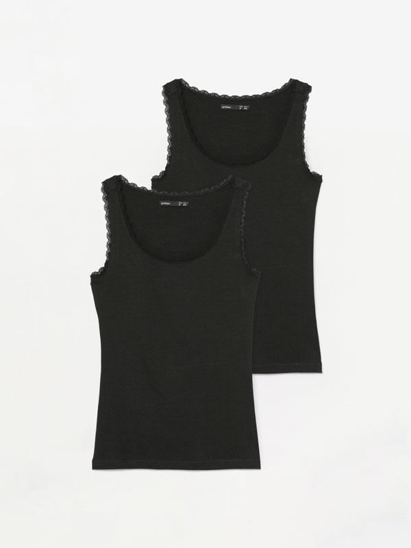 Pack de 2 t-shirts de alças com lace