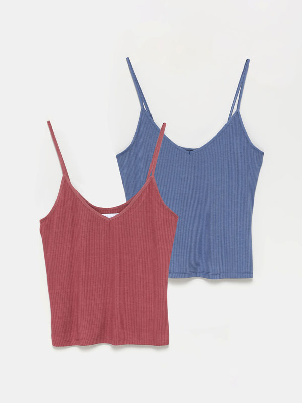 Pack of 2 basic ribbed strappy tops