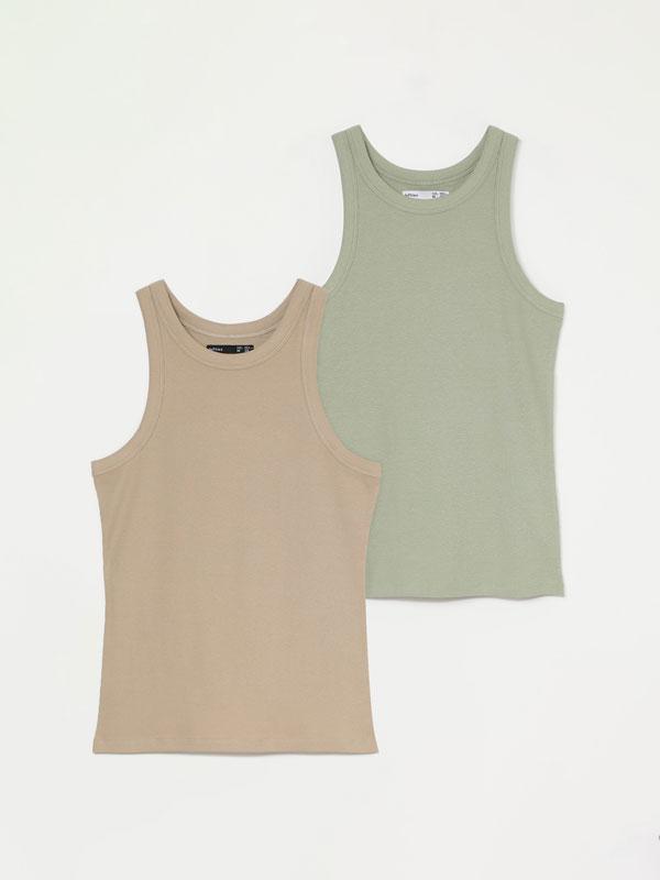 Pack de 2 camisetas sen mangas