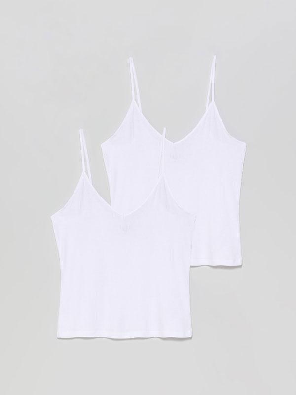 Paquet de 2 samarretes bàsiques de tirants de canalé
