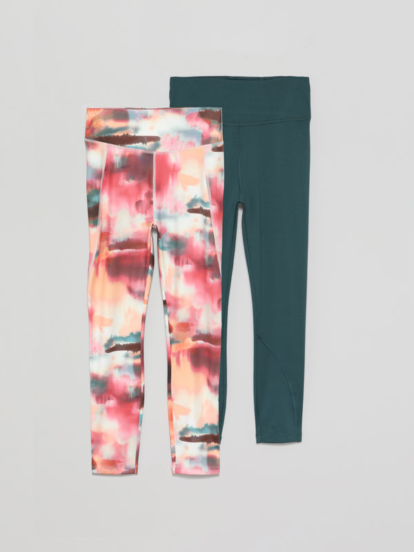 Pack of 2 pairs of sports leggings.