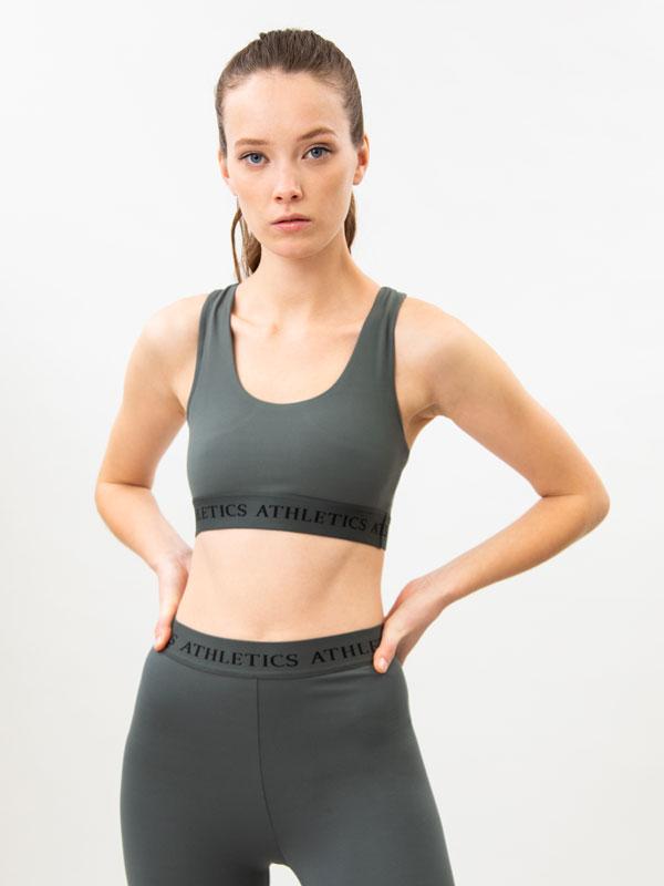 Sports bra with slogan detail