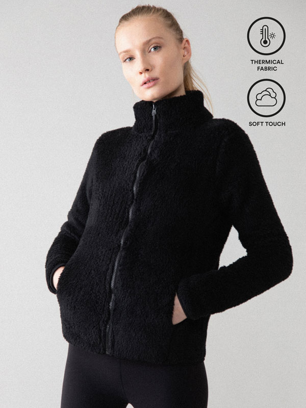 Faux fur sports jacket