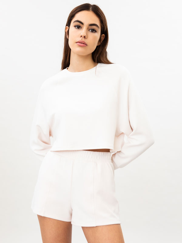 Soft-touch cropped sweatshirt