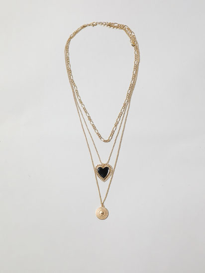 BLACK HEART MULTI-STRAND NECKLACE
