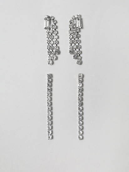 PACK OF 2 LONG RHINESTONE EARRINGS