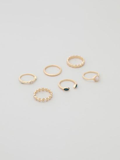 Pack of 6 assorted rings