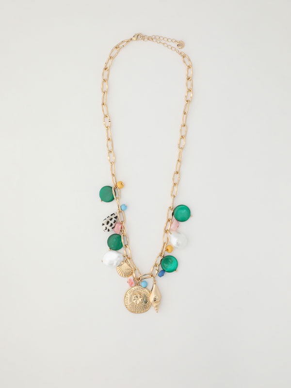 Necklace with seashells and colourful beads