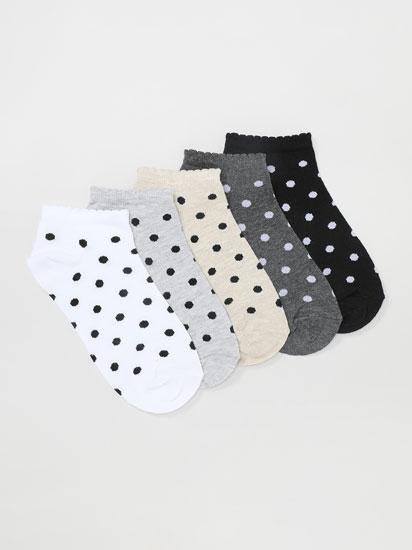 Pack de 5 pares de meias soquetes com bolinhas