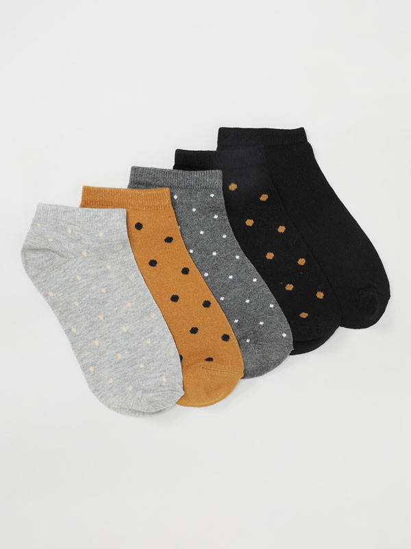 Pack of 5 pairs of polka dot ankle socks