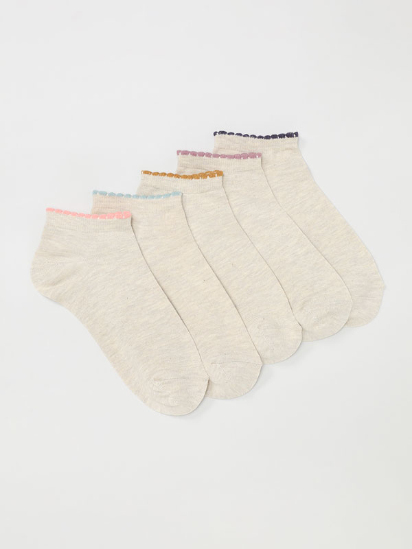 Pack of 5 pairs of socks with coloured trim.